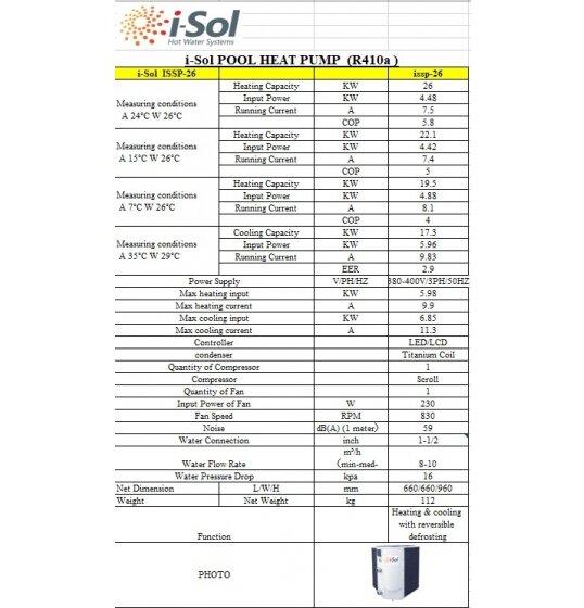 מפרט טכני למשאבת חום 26KW